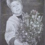 Портрет с букетом полевых цветов
